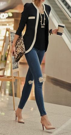 Black jacket, denim and leopard clutch.
