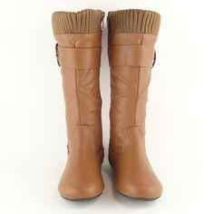 Toddler Knee High Buckle Flat Boots Tan