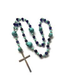 Azul – Mexican Sugar Skull Rosary Beads - Dios De Los Muertos/Virgin of Guadalupe - Turqoiuse/Navy/Silver – Mishimon Designs