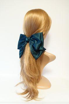 stylish very big satin layered bow french hair barrette for women Ponytail Scrunchie, Hair Barrettes, Hair Clips, Headbands, Scrunchies, Pelo Blair Waldorf, Classy And Fab, Ribbon Hairstyle, Big Hair Bows