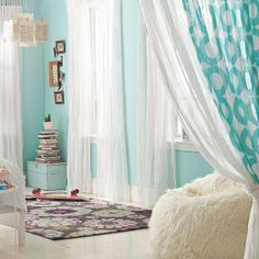 "Dream bedroom I LOVE the ruffled bed skirt and the ""Mr. Love this bedroom! Aqua Bedrooms, Turquoise Room, Light Turquoise, Kids Room Design, Big Girl Rooms, Slipcovers For Chairs, Dream Bedroom, White Bedroom, Girls Bedroom"