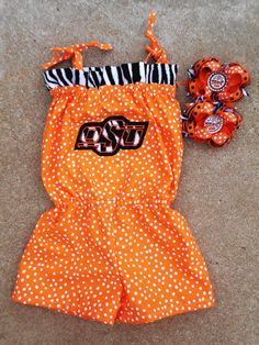 OSU Cowboys Oklahoma State Romper/Jumper and Matching Boutique Hairbow Set size 3m 6m 12m 18m 2T 3T 4T 5T. $39.50 USD, via Etsy.
