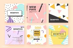 Memphis card template collection Free Ve. Banner Template, Card Templates, Shop Banner Design, Site Web Design, Business Poster, Name Card Design, Free Website Templates, Cute Designs, Banners