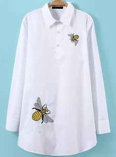 White Lapel Bee Embroidered Loose Blouse 12.50