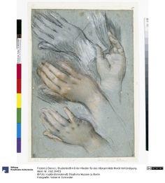 Federico Barocci - Hand Studies c. 1583-86 (Studienblatt mit vier Händen für das Altargemälde Mariä Verkündigung); Staatliche Museen zu Berlin