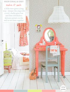 Colour Palette: Neon Coral & Grey Bedroom. Great colors for a wedding if u ask me. Get the girls coral dresses that have a little bit of grey in them. Have guys wear coral bow ties. And the flowers will be both, etc. The colors together are very unisex.