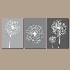 DANDELION Wall Art Flower Artwork Charcoal Gray Tones Custom Colors Modern Nursery Set of 3 Prints Decor Bedroom Bathroom Dorm Three