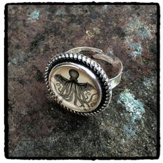 Cthulhu ring /jewellery // antique silver unisex adjustable ring - 9,14e