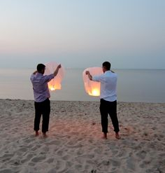 Brian and Chad celebrated with Chinese Lanterns