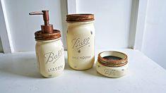 Rustic Mason Jar Bathroom Set 3 Piece Authentic Ball Farmhouse Bathroom Decor by Kksmercantile on Etsy
