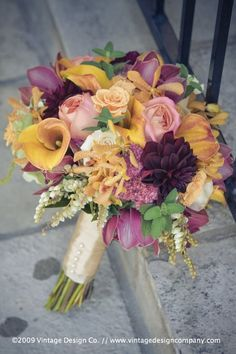 bouquet.  Love these colors.  Would look great with wine color, grey, cocoa