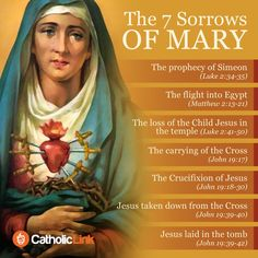 Catholic quotes, infographics, memes and more resources for the New Evangelization. Infographic: The 7 Sorrows Of Virgin Mary. Catholic Prayers, Prayers To Mary, Catholic Beliefs, Catholic Quotes, Catholic Answers, Religious Quotes, 7 Sorrows Of Mary, Our Lady Of Sorrows, Blessed Mother Mary