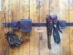 Leather Bushcraft belt kit. All handmade (except gloves), by Gillie Leather.