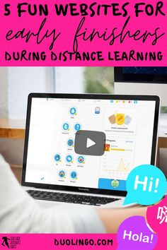 What do you do when your students have finished their distance learning tasks? Remote learning can be challenging as you try to ensure all your students are learning, progressing and occupied. It can be difficult to find suitable and fun virtual learning activities to issue as extension work for your early finishers. Keep reading to learn 5 creative ideas for your early finishers during a distance, hybrid or blended learning classroom! duolingo.com Free Teaching Resources, School Resources, Learning Activities, Teacher Resources, Teaching Ideas, Teacher Blogs, New Teachers, School Direct, High School Classroom