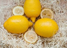 Three lemons, close-up in the straw by mashanezemnush on @creativemarket