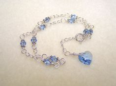 Blue Heart Anklet Sapphire Crystal Jewelry Adjustable Silver