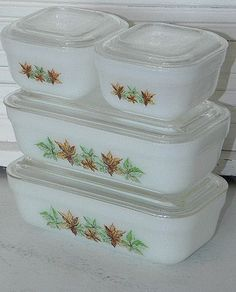 Fire King Refrigerator Dishes Maple Leaf Pattern set of six
