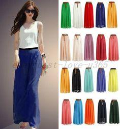 Fashion Women Ladies Chiffon Pleated Retro Maxi Elastic Waist Maxi Dress Skirt | eBay