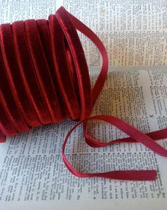 burgundy red velvet ribbon wedding decor holiday by ShyMyrtle