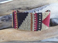Geometric macrame bracelet,Brown gold and red wide makrame,Luxurious jewelry,Macrame jewelry,Knotted,Women wristband by What2WearByNana on Etsy