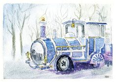 Magical snowy train watercolour Art print A5 winter by ImbirArt