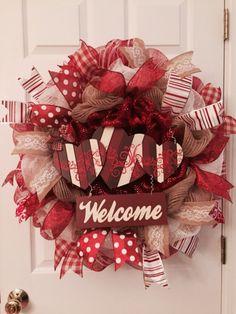 Valentine's Day wreath Hearts wreath welcome wreath by Adressydoor