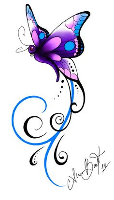 Butterfly Drawing, Butterfly Tattoo Designs, Butterfly Wallpaper, Butterfly Design, Purple Butterfly Tattoo, Dragonfly Tattoo Design, Butterfly Quotes, Trendy Tattoos, Tattoos For Women