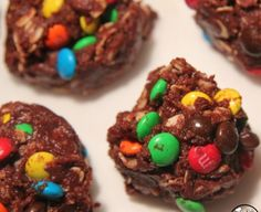 Fudgy No Bake Cookies with M&Ms
