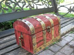 """Купить Сундук """"Мини 3"""" - красный, сундук, сундук деревянный, сундук под старину"""