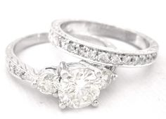 Round diamond engagement ring and band art deco 200ctw by KNRINC, $5300.00