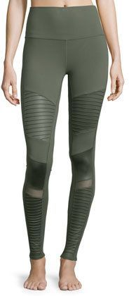 Alo Yoga High-Waist Moto Sport Leggings with Mesh Panels