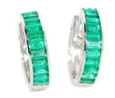 18K White Gold Unique Emerald Gemstone Huggie Earrings [EL0007] BKGjewelry http://www.amazon.com/dp/B00CKIE3YE/ref=cm_sw_r_pi_dp_FyUkwb13YVRFK
