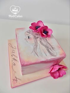 Hand painted cake inspired by Emmanuelle Colin Little Girl Cakes, Little Girls, Beautiful Cakes, Amazing Cakes, Fondant Cakes, Cupcake Cakes, Cake Decorating For Beginners, Hand Painted Cakes, Cake Tutorial