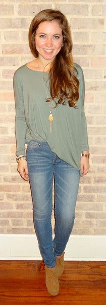 Loving the simplicity of these lightwash skinny jeans mixed with the simple green long sleeve piko top and booties.  Simple, effortless, and so comfortable! -Studio 3:19
