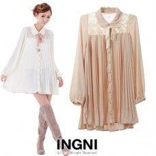 Japan ingni chiffon trendy oversized blouse dress with lace back