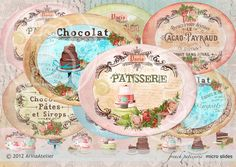 Oval Digital Collage Slides - French Patisserie