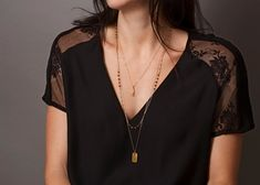 Beaded Gemstone and Bar Chain Necklace / par LayeredAndLong sur Etsy