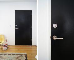 black door. silver hardware.