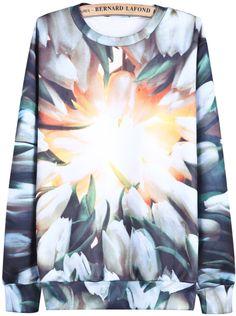 Blue Long Sleeve Digital Tulip Print Sweatshirt US$28.33