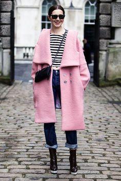 Pink coat, stripes and denim.