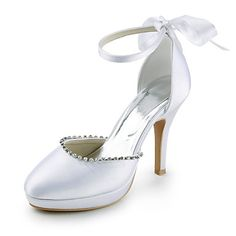 Satin Stiletto Heel Closed Toe Pumps With Rhinestone Party / Evening Shoes (More Colors) – USD $ 62.29