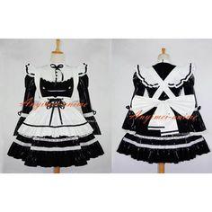 Free Shipping Black-white Sexy Sissy Maid Pvc Dress Lockable Uniform Cosplay Costume Custom-made