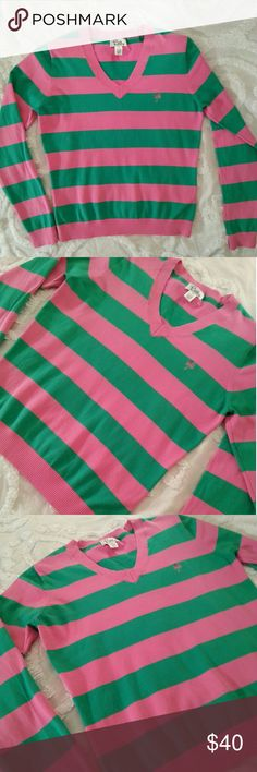 🆕 Lilly Pulitzer Striped Sweater Super cute pink and green rugby Striped v-neck sweater in excellent used condition. Lilly Pulitzer Sweaters V-Necks