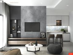 Designed & Visualized by EKE Team - Green Valley. Designed & Visualized by EKE Team Living Room Tv Unit Designs, Small Living Room Design, Home Room Design, Home Interior Design, Apartment Interior, Living Room Interior, Home Living Room, Living Room Decor, Kitchen Living