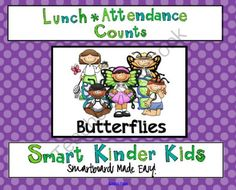 May Lunch and Attendance Count for SMARTboard from SmartKinderKids on TeachersNotebook.com -  (8 pages)  - Quick, easy, efficient and fun! Your kids will love doing Lunch and Attendance Counts with monthly themed boards and you will love the classroom management system!  May = BUTTERFLIES