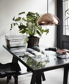 home office - black, white and copper / rose gold