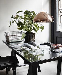 brass, black, white, green plants, basket, glass door