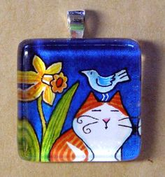 Orange and White Cat and Bird, Glass Pendant Handcrafted by Susan Faye, SusanFayePetProjects on Etsy, $12.00