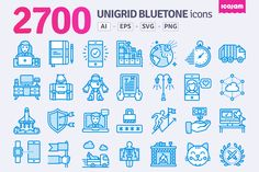2700 Unigrid Bluetone icons by Icojam on @creativemarket - Download here: https://crmrkt.com/EylNw
