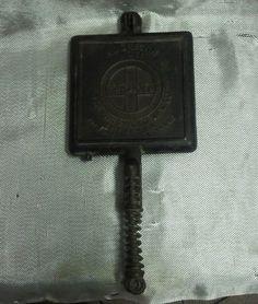 Antique Griswold No 11 Waffle Iron Cast Iron Pan Skillet Pat'D Dec 1 1908